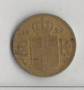 ICELAND,  1929,  1 KRONA,  ALUMINUM-BRONZE,  VERY FINE,  KM# 3.1