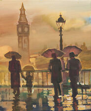 Big Ben/Londres/Río Támesis/Aceite Original sobre lienzo por hahonin/30x25cm