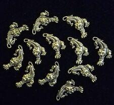 Tibetan Silver Charm (gold tone) - Tiger  (Small) ☆ 12 pieces