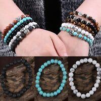Fashion Natural Stone Lava Beaded Charm Buddha Man Woman Elastic Bracelet