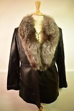 MARVIN RICHARDS 3/4 length Black Leather Coat Jacket Fox Fur Collar size Medium