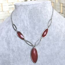 Red Bead Silver Tone Costume Jewellery Necklace Unusual Jewelery