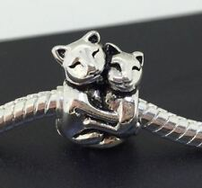 Silver Charms Bead Stopper fit European Bracelet hallmarked Hug Cats PSB382
