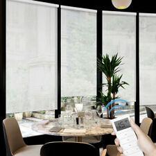 50% Light Filtering Motorized Solar Window Roller Shade Blind Cordless White