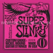 ERNIE BALL 2223 Super Slinky NICHEL ARROTOLATE GUITAR Stringhe.009 -.042