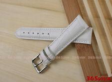 20mm White Genuine Leather Cowhide Croco Pattern Buckle Watch Strap Bracelet L01