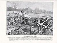 1897 Vittoriano Stampa ~ British Eccezionale Centrale Ferrovia Lavoro London ~