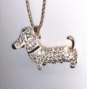 Betsey Johnson Necklace Dachshund Weiner Dog White Gold Crystal Gift Box Bag