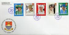 Kiribati 2016 FDC Queen Elizabeth II 90th Birthday 5v Set Cover Royalty Stamps