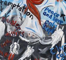 Outsider Folk Art  Painting Grace Laster  Peace Love (Cat # 0996)