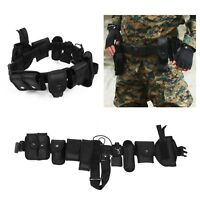 9 Pouch Combat Tactical Military Police Security Guard System Duty Belt Holster