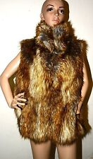 $250 New Safari By IMposter Faux Fur Vest Jacket Coat Racoon Vegan L