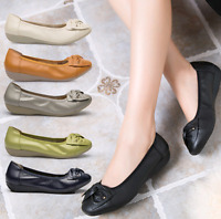 New Women's Leisure Genuine Leather Soft bottom Flats Shoes Plus Size Mom Shoes