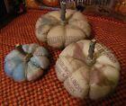 """Primitive Pumpkins-""""Flatties"""" Fairy Pumpkins--Bowl Fillers Tucks- set of 3"""