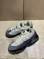 2009 Nike Air Max 95 311524-073 3Y US Gray White Volt Neon Yellow Suede Sneakers