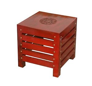 Handcrafted Wooden Square Stool for Living Room Side Table ( Red Finish )