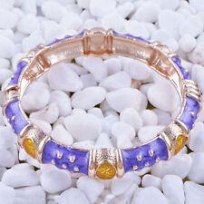 Enamel Fashion Jewelry Bangle Bracelet New Gold Plated Purple w/Gold Accent