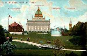 AK GRUß AUS GÖRLITZ NIEDERSCHLESISCHE GEWERBE + INDUSTRIE AUSSTELLUNG 1905 col.