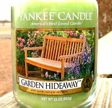 """Yankee Candle Retired """"GARDEN HIDEAWAY""""~ Large 22 oz ~ WHITE LABEL ~RARE ~ NEW"""