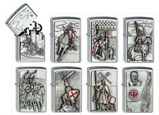 8 x TEMPLER ZIPPO + Sammler-Schatulle Glasdeckel CRUSADER neu+ovp