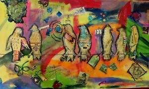 Teena Stewart Birds on a Wire Original 24x48 Mixed Media Acrylic Painting