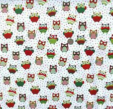 Happy owls on white fq fabric  50x56 cm Nutex 36730-9 100/% Cotton