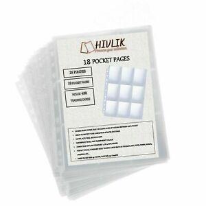 9 POCKET A4 FOLDER BINDER PAGES FOR TRADING CARDS - LOT OF 25 HOLDS 450 CARDS