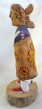 Navajo Carving Folk Art *P YAZZIE* Maiden in Yellow Flower Blanket* 8.5 Inch*