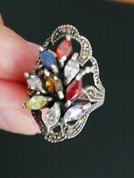 Ancienne bague femme en argent massif / marcassite et pierres multicolores