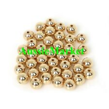 50 x gold spacer beads ladies girls bracelet necklace acrylic plastic metal 8mm
