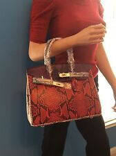 VERY EXOTIC BIRKIN INSPIRED RED PURPLE PINK SNAKE PRINT 30CM HANDBAG TOTE PURSE