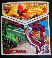 OA MICHIGAMEA 110 CALUMET 2-PATCH BIRD SMY 100TH ANN 2015 NOAC FLAP 300 MADE!!