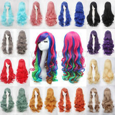 Women 80cm Long Curly Wigs Sexy Cosplay Costume Hair Anime Full Wavy Party Wig
