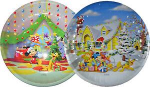 2 x Disney Santa Treat Plates Christmas Eve Plate Mickey Mouse Plate