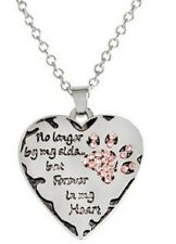 SILVER & PINK PENDANT NECKLACE DOG CAT REMEMBRANCE FOREVER IN MY HEART PET UK