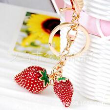 Red Strawberries Crystal Diamante Bag Charms Handbag Keyrings Pendant Key Chain
