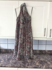 Ladies size 12 calf length brown mix lined floaty halter neck dress
