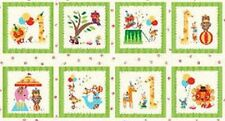 Rainbow Zoo Circus Patchwork Fabric Panel - Giraffes, Lions, Clowns, Baby animal