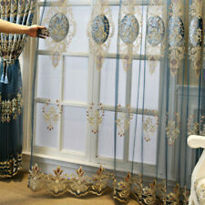 Lace Embroidered Tulle Curtain Fabric Window Sheer Voile Drape Semi-finished DIY