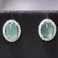 AAA Natural Green Jade Diamond Halo Earrings 925 Sterling Silver Women Jewelry