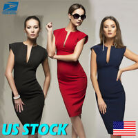 Womens OL Office Business Suit Solid Pencil Bodycon Formal Midi Dress Split USA