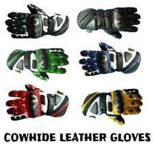 NEW MOTORBIKE MOTORCYCLE BIKER GENUINE COWHIDE LEATHER CE ARMOURED RACING GLOVES