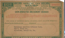 Coin-Operated Amusement Device IRS Tax Stamp 1945 - FREE SHIPPING Ukrainian Club
