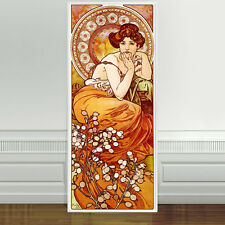 "Stunning Alphonse Mucha Topaz~ CANVAS PRINT 24""X10"" Art Nouveau Gem stone series"