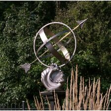 Cast Aluminum Mermaid Armillary Sundial Garden Wind Compass Roman Numerals Decor