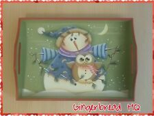 HP Snowman and Owl wooden serving tray,Christmas Decor, Holidays, Kitchen, Hoot