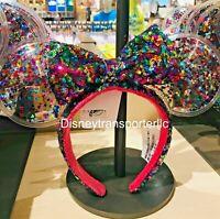 Disney Park Sparkle Minnie Mickey Ears Rainbow Star Confetti Sequin Headband