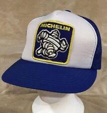 e37330dd901eb VTG Michelin Man Tires Patch Adult Blue White Mesh Trucker Snapback Hat Cap
