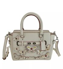 NWT Coach 59810 Mini Blake Carryall Chalk Pebble Leather Butterfly Applique $475