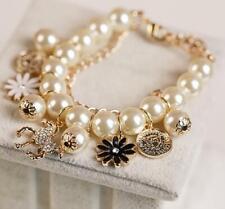 Betsey Johnson Enamel Jewelry wooden horse Avatar pearl Multi-layer bracelet hot